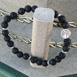 Tree of Life and Black Lava Stone Bracelet